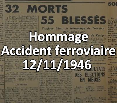 Hommage de l'accident ferroviaire du 12 novembre 1946